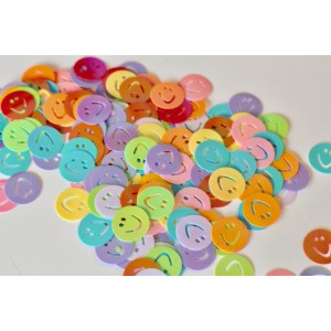 10 grammes de Paillettes confettis SMILEY émoticones ronds 15 mm