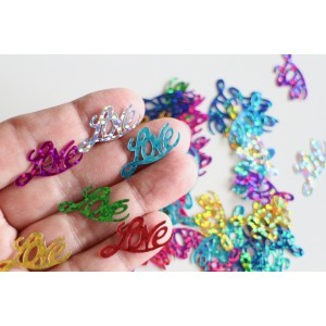 "100 Paillettes sequins ""Love"" multicolore 26 x 13 mm"